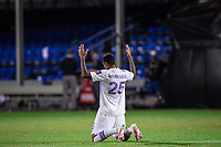 LAKE BUENA VISTA, FL - JULY 20: Antonio Carlos #25 of Orlando City SC before the 2nd half during a game between Orlando City SC and Philadelphia Union at Wide World of Sports on July 20, 2020 in Lake Buena Vista, Florida.