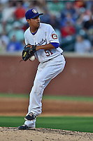 Chattanooga Lookouts pitcher Juan Noriega #51 delivers a pitch during the Southern League All Star game at AT&T Field on June 17, 2014 in Chattanooga, Tennessee. The Southern Division defeated the Northern Division 6-4. (Tony Farlow/Four Seam Images)