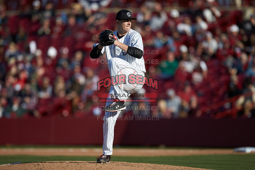 South Carolina Gamecocks relief pitcher Cam Tringali (37) in action against the Holy Cross Crusaders at Founders Park on February 15, 2020 in Columbia, South Carolina. The Gamecocks defeated the Crusaders 9-4.  (Brian Westerholt/Four Seam Images)
