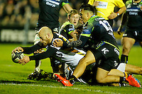 Photo: Richard Lane/Richard Lane Photography. Connacht v Wasps.  European Rugby Champions Cup. 17/12/2016. Wasps' Joe Simpson dives in for a try.