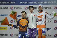 SCHAATSEN: GRONINGEN: Sportcentrum Kardinge, 25-11-2018, Marathon 4daagse, dagwinnaars B groep Marc Middelkoop -Shen Hanyang (CHINA) - Remon Vos, ©foto Martin de Jong