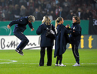 Pia Sundhage celebrates after the game. US Women's National Team defeated Germany 1-0 at Impuls Arena in Augsburg, Germany on October 29, 2009.