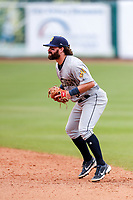 Montgomery Biscuits second baseman Jake Palomaki (3) on defense against the Tennessee Smokies on May 9, 2021, at Smokies Stadium in Kodak, Tennessee. (Danny Parker/Four Seam Images)