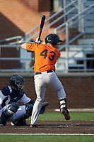 J.C. Escarra (43) of the Frederick Keys at bat against the Buies Creek Astros at Jim Perry Stadium on April 28, 2018 in Buies Creek, North Carolina. The Astros defeated the Keys 9-4.  (Brian Westerholt/Four Seam Images)