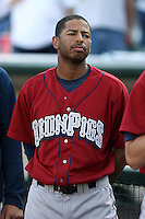 July 1st 2008:  Brandon Watson of the Lehigh Valley IronPigs, Class-AAA affiliate of the Philadelphia Phillies, during a game at Frontier Field in Rochester, NY.  Photo by:  Mike Janes/Four Seam Images