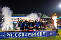 11th Mach 2020, Frisco, Texas, USA;  Players of the USA celebrate winning their 2020 SheBelieves Cup Womens International Friendly,  football match between USA Women versus Japan Women at Toyota Stadium in Frisco, Texas, USA.