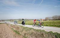race leaders Preben Van Hecke (BEL/Sport Vlaanderen - Baloise) & Loïc Chetout (FRA/Cofidis) leading over the newly added gravel roads around Ploegsteert, called 'Plugstreets'<br /> <br /> 79th Gent-Wevelgem 2017 (1.UWT)<br /> 1day race: Deinze › Wevelgem - BEL (249km)