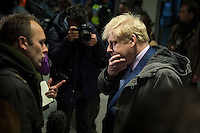 Members of the RMT & TSSA trade Unions go on strike over proposed cuts to station staff on London Underground. 5-2-14 London Mayor Boris Johnson speaks to the media at London Bridge station during the strike.