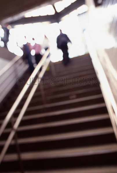 Original Image Photographed on 35mm Transparency Film.<br /> <br /> People Walking Up and Down a Staircase at the Entrance to the Union Square Subway Station, New York City, New York State, USA