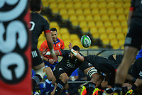 Maori's Bryn Hall passes to Otere Black during the international rugby match between Manu Samoa and the Maori All Blacks at Sky Stadium in Wellington, New Zealand on Saturday, 26 June 2021. Photo: Dave Lintott / lintottphoto.co.nz