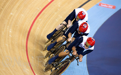 03 AUG 2012 - LONDON, GBR - The Great Britain (GBR) men's team on their way to beating Australia to win the Team Pursuit final at the London 2012 Olympic Games in the Olympic Park Velodrome in Stratford, London, Great Britain (PHOTO (C) 2012 NIGEL FARROW)