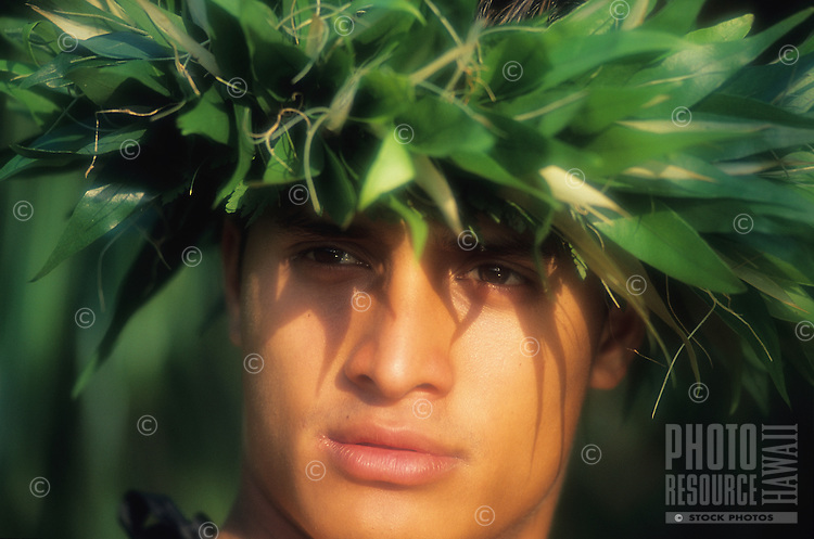 Hawaiian man with Laua'e head lei.