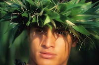 Hawaiian man with Laua'e head lei.