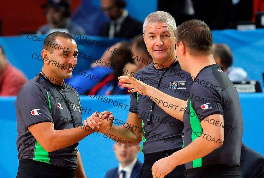Ilija Belosevic, Lamonica Luigi and Ryzhyk Borys  during European championship basketball final match between Spain and Lithuania on September 20, 2015 in Lille, France  (credit image & photo: Pedja Milosavljevic / STARSPORT)