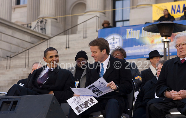 Columbia, South Carolina.January 7, 2008 ..Democratic presidential hopeful and New York Senator Hillary Clinton with the two other Democratic Presidential candidates, Senator Barak Obama and John Edwards at an ANNCP rally for Martin Luther King day....