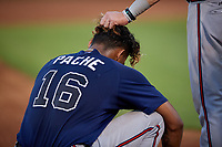 Mississippi Braves Drew Waters (right) jokingly grabs Cristian Pache (16) hair during a Southern League game against the Jackson Generals on July 23, 2019 at The Ballpark at Jackson in Jackson, Tennessee.  Mississippi defeated Jackson 1-0 in the second game of a doubleheader.  (Mike Janes/Four Seam Images)