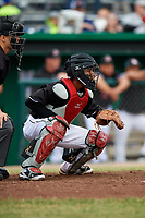 Batavia Muckdogs catcher Pablo Garcia (4) waits to receive a pitch in front of home plate umpire Steven Rios during a game against the Williamsport Crosscutters on June 22, 2018 at Dwyer Stadium in Batavia, New York.  Williamsport defeated Batavia 9-7.  (Mike Janes/Four Seam Images)