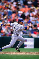 SAN FRANCISCO, CA - Mike Piazza of the Los Angeles Dodgers bats during a game against the San Francisco Giants at Candlestick Park in San Francisco, California on April 17, 1996. (Photo by Brad Mangin)