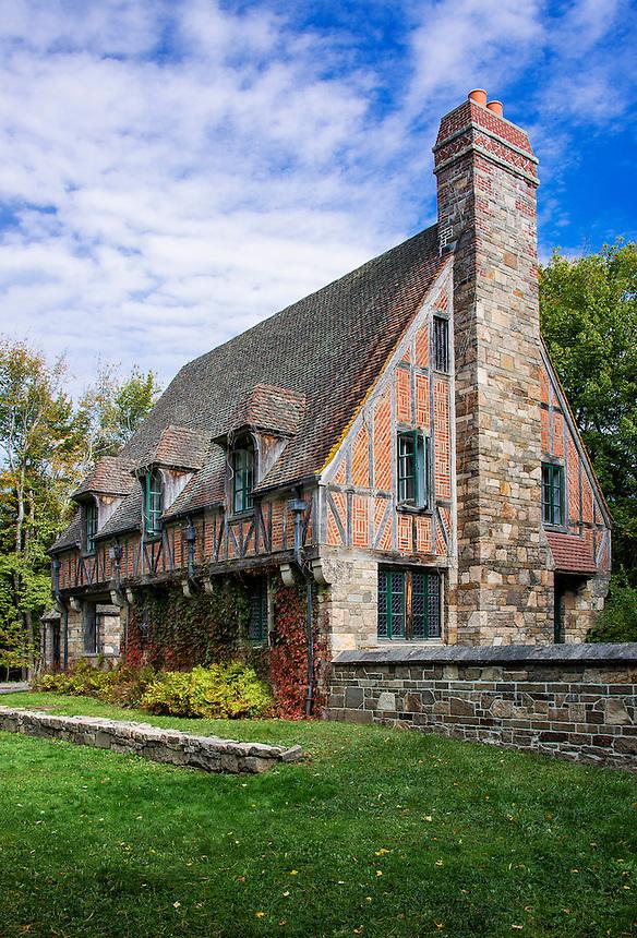Tudor style gatehouse located by Jordon Pond within Acadia National Park, Maine, USA. Built by John D. Rockefeller