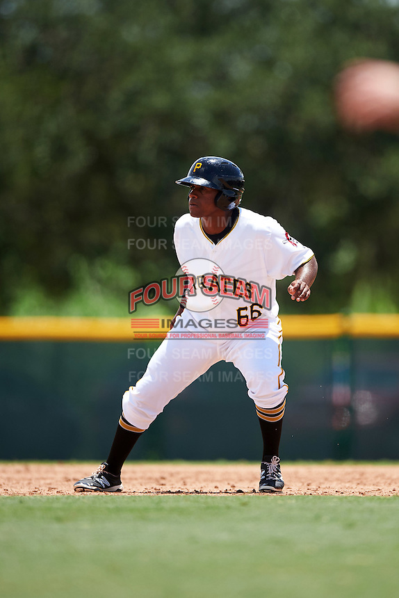 GCL Pirates designated hitter Felix Vinicio (66) leads off second during a game against the GCL Braves on August 10, 2016 at Pirate City in Bradenton, Florida.  GCL Braves defeated the GCL Pirates 5-1.  (Mike Janes/Four Seam Images)