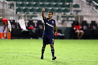 CARY, NC - AUGUST 01: Pecka #7 signals to a teammate during a game between Birmingham Legion FC and North Carolina FC at Sahlen's Stadium at WakeMed Soccer Park on August 01, 2020 in Cary, North Carolina.