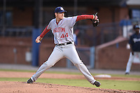 Hagerstown Suns starting pitcher Nick Pivetta #44 delivers a pitch during a game against the Asheville Tourists at McCormick Field September 8, 2014 in Asheville, North Carolina. The Tourists defeated the Suns 16-7. (Tony Farlow/Four Seam Images)