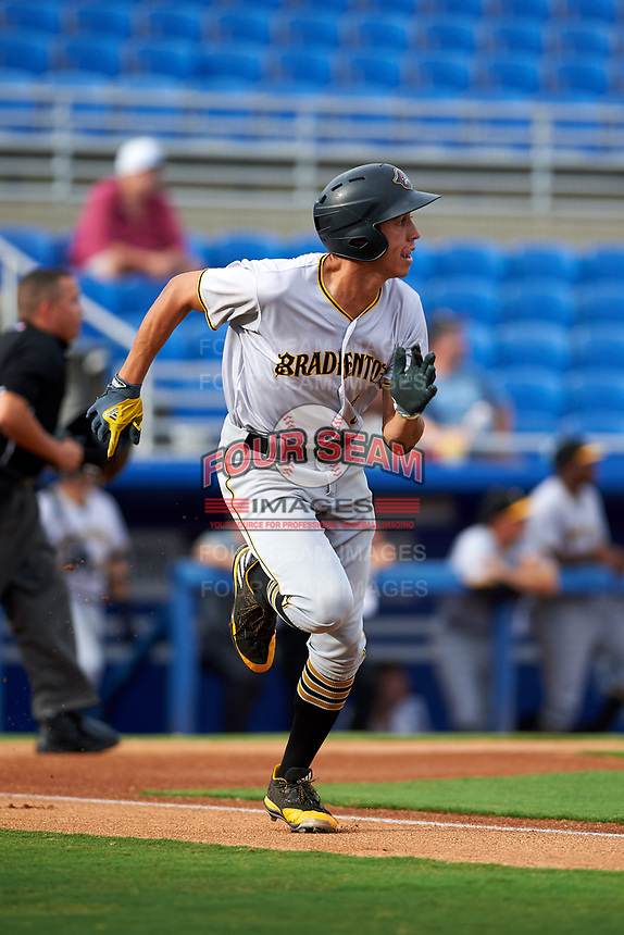 Bradenton Marauders shortstop Cole Tucker (3) runs to first base during a game against the Dunedin Blue Jays on July 17, 2017 at Florida Auto Exchange Stadium in Dunedin, Florida.  Bradenton defeated Dunedin 7-5.  (Mike Janes/Four Seam Images)