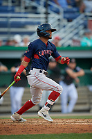 Lowell Spinners Kervin Suarez (2) bats during a NY-Penn League game against the Batavia Muckdogs on July 10, 2019 at Dwyer Stadium in Batavia, New York.  Batavia defeated Lowell 8-6.  (Mike Janes/Four Seam Images)