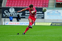 Dan Jones of Scarlets kicks a conversion during the Guinness Pro14 Round 02 match between the Scarlets and Zebre Rugby at the Parc Y Scarlets Stadium in Llanelli, Wales, UK. Saturday 12 October 2019