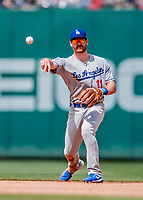 20 May 2018: Los Angeles Dodgers infielder Logan Forsythe gets the second out in the 6th inning against the Washington Nationals at Nationals Park in Washington, DC. The Dodgers defeated the Nationals 7-2, sweeping their 3-game series. Mandatory Credit: Ed Wolfstein Photo *** RAW (NEF) Image File Available ***