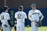 Michigan Wolverines shortstop Benjamin Sems (2) after the NCAA baseball game against the Illinois Fighting Illini on March 20, 2021 at Fisher Stadium in Ann Arbor, Michigan. Michigan won the game 8-1. (Andrew Woolley/Four Seam Images)