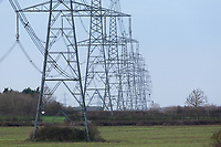 24.11.2020 Pylons running across farmland <br /> ©Tim Scrivener Photographer 07850 303986<br />      ....Covering Agriculture In The UK....