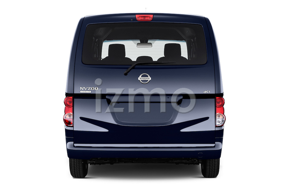 Straight rear view of a 2014 Nissan Evalia Connect Edition 5 Door Mini MPV 2WD Rear View  stock images