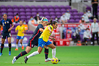 ORLANDO CITY, FL - FEBRUARY 21: Marta #10 of Brazil dribbles the ball during a game between Brazil and USWNT at Exploria Stadium on February 21, 2021 in Orlando City, Florida.