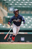 GCL Braves Michael Harris (26) at bat during a Gulf Coast League game against the GCL Orioles on August 5, 2019 at Ed Smith Stadium in Sarasota, Florida.  GCL Orioles defeated the GCL Braves 4-3 in the second game of a doubleheader.  (Mike Janes/Four Seam Images)