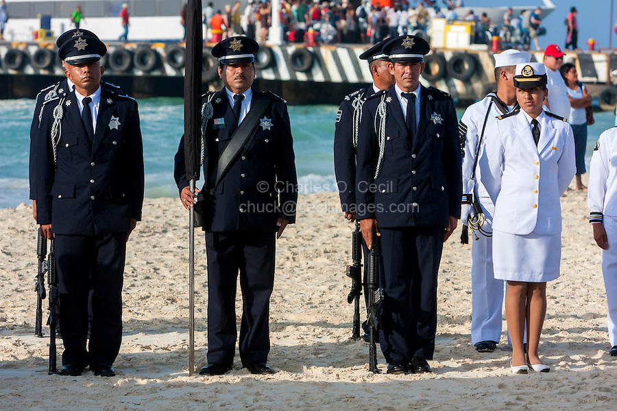 Celebration of the 70th Anniversary of the Founding of the Mexican Navy, Playa del Carmen, June 1, 2012.  Yucatan, Mexico.