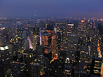 View of New York City shortly before sunrise.