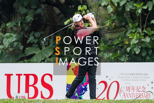 Tommy Fleetwood of England tees off during the day three of UBS Hong Kong Open 2017 at the Hong Kong Golf Club on 25 November 2017, in Hong Kong, Hong Kong. Photo by Marcio Rodrigo Machado / Power Sport Images