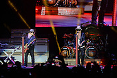WEST PALM BEACH, FL - OCTOBER 20: Dusty Hill, Frank Beard and Billy Gibbons of ZZ Top perform during the 50th Anniversary Tour at The Coral Sky Amphitheatre on October 20, 2019 in West Palm Beach Florida. Credit Larry Marano © 2019