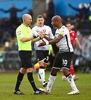 19th December 2020; Liberty Stadium, Swansea, Glamorgan, Wales; English Football League Championship Football, Swansea City versus Barnsley; Andre Ayew of Swansea City appeals to Referee Andy Davies after Jack Walton of Barnsley comes out of his goal and collides with Yan Dhanda of Swansea City to stop a goal scoring opportunity
