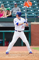 Jeremy Hazelbaker (23) of the Chattanooga Lookouts at bat against the Montgomery Biscuits at AT&T Field on July 23, 2014 in Chattanooga, Tennessee.  The Lookouts defeated the Biscuits 6-5. (Brian Westerholt/Four Seam Images)