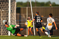 Western New York Flash midfielder Carli Lloyd (10) shoots and scores on Sky Blue FC goalkeeper Brittany Cameron (1) during the first half during a National Women's Soccer League (NWSL) match at Yurcak Field in Piscataway, NJ, on June 8, 2013.