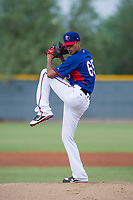 AZL Rangers starting pitcher Jean Casanova (65) gets ready to deliver a pitch during a game against the AZL Padres 2 on August 2, 2017 at the Texas Rangers Spring Training Complex in Surprise, Arizona. Padres 2 defeated the Rangers 6-3. (Zachary Lucy/Four Seam Images)