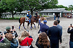 JUNE 5, 2015: Ahmed Zayat, owner of American Pharoah, gestures to exercise rider George Alvarez after morning workouts in preparation for the 147th running of the Belmont Stakes at Belmont Park in New York, NY. Jon Durr/ESW/CSM