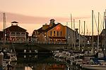 Shoreline Village Marina at twilight, Long Beach, CA