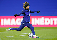 LE HAVRE, FRANCE - APRIL 13: Alex Morgan #13 of the United States warming up before a game between France and USWNT at Stade Oceane on April 13, 2021 in Le Havre, France.