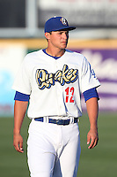 Corey Seager #12 of the Rancho Cucamonga Quakes warms up before a game against the Bakersfield Blaze at LoanMart Field on June 9, 2014 in Rancho Cucamonga, California. Bakersfield defeated Rancho Cucamonga, 3-1. (Larry Goren/Four Seam Images)