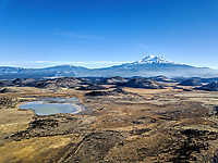 Winter time aerial photo of the Mount Shasta area.