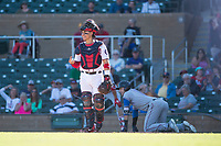 Salt River Rafters catcher Tres Barrera (12), of the Washington Nationals organization, reacts after hearing the call from home plate umpire Junior Valentine (not pictured) after Charles Leblanc (12) was tagged out on a play at the plate during an Arizona Fall League game against the Surprise Saguaros at Salt River Fields at Talking Stick on November 5, 2018 in Scottsdale, Arizona. Salt River defeated Surprise 4-3 . (Zachary Lucy/Four Seam Images)