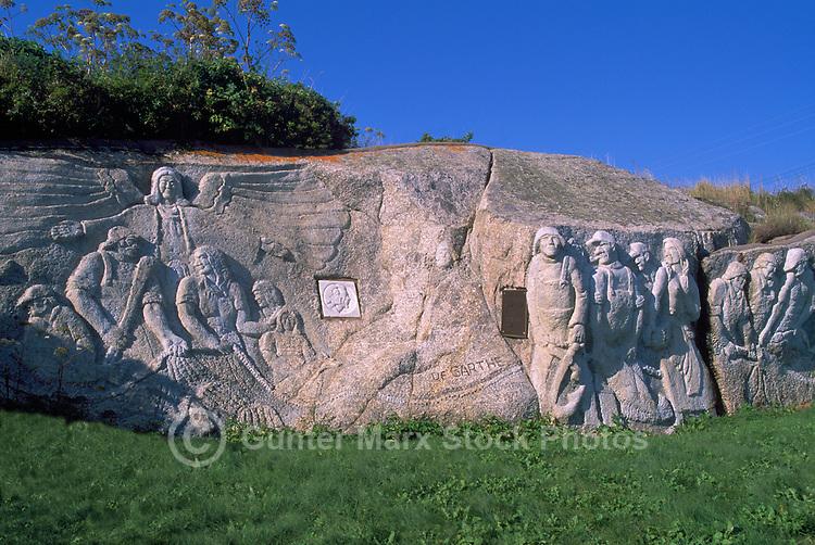 deGarthe Memorial Monument (Sculptor William E. deGarthe), Peggys Cove (Peggy's Cove), NS, Nova Scotia, Canada - Rock Carving dedicated to Nova Scotia Fishermen - South Shore Region